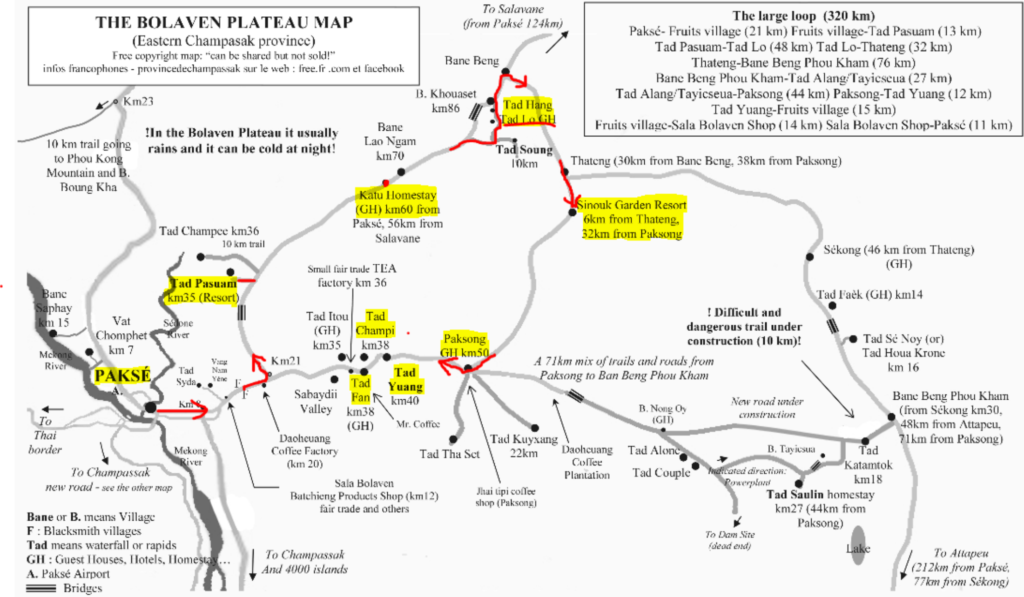 Bolavean Plateau loop map