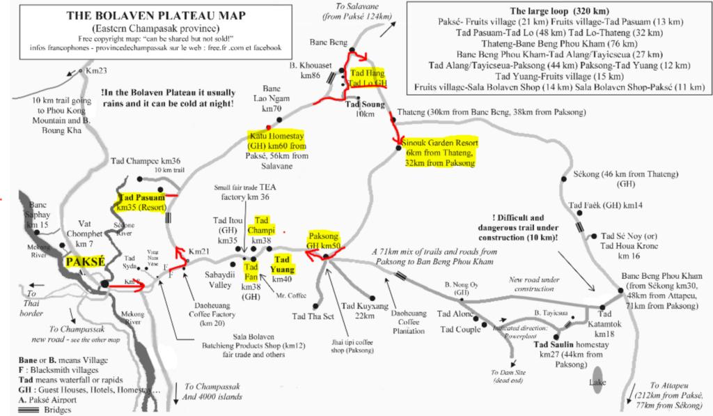 Bolavean Plateau loop map